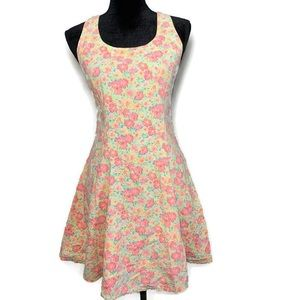 Vintage 80s bright floral fit and flare dress